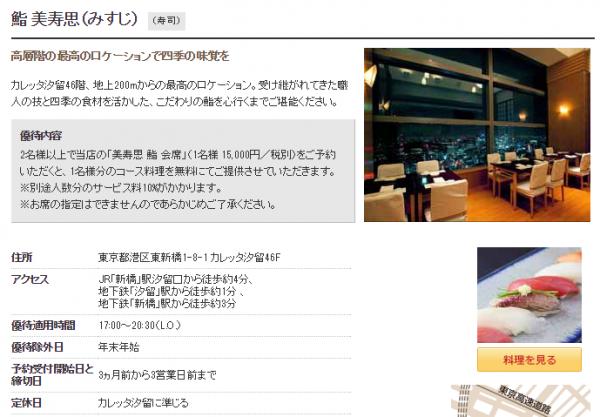 「ダイニング by 招待日和」人気レストランNo.1の鮨 美寿思(みすじ)の場合