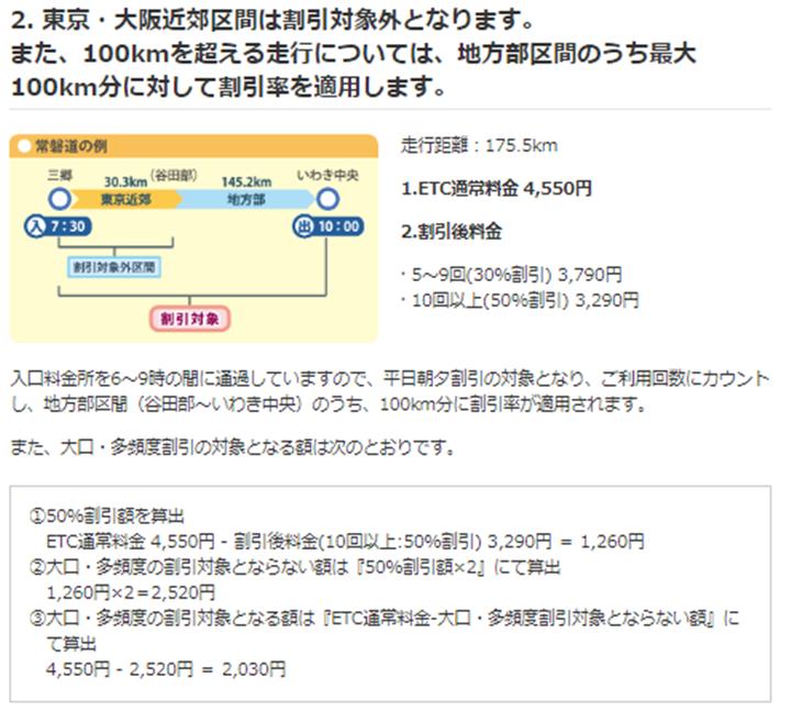 東京・大阪近郊区間を含む例