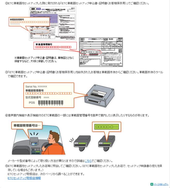 車載器管理番号の確認方法