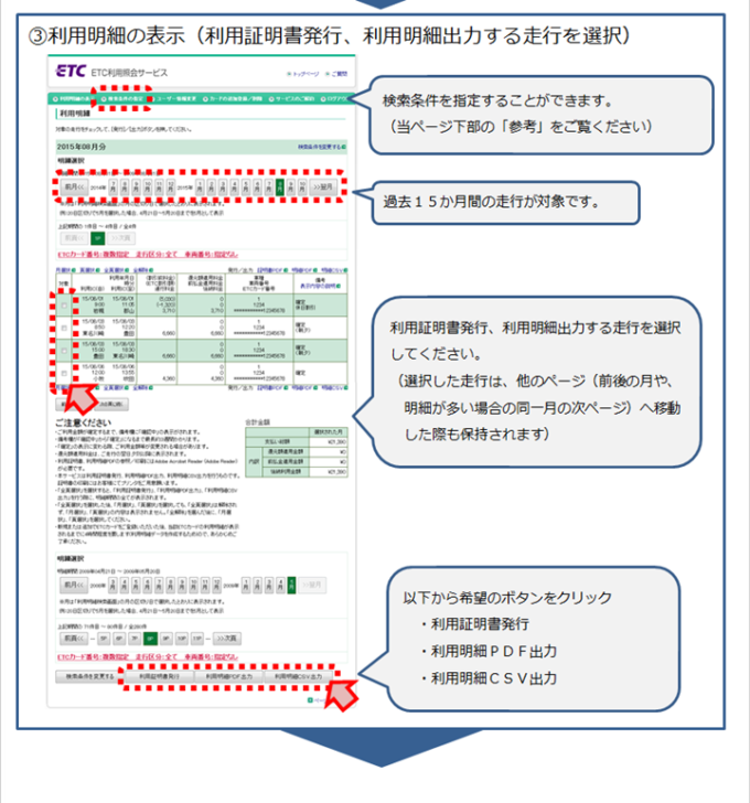 3.利用明細の表示、利用証明書の発行を行う