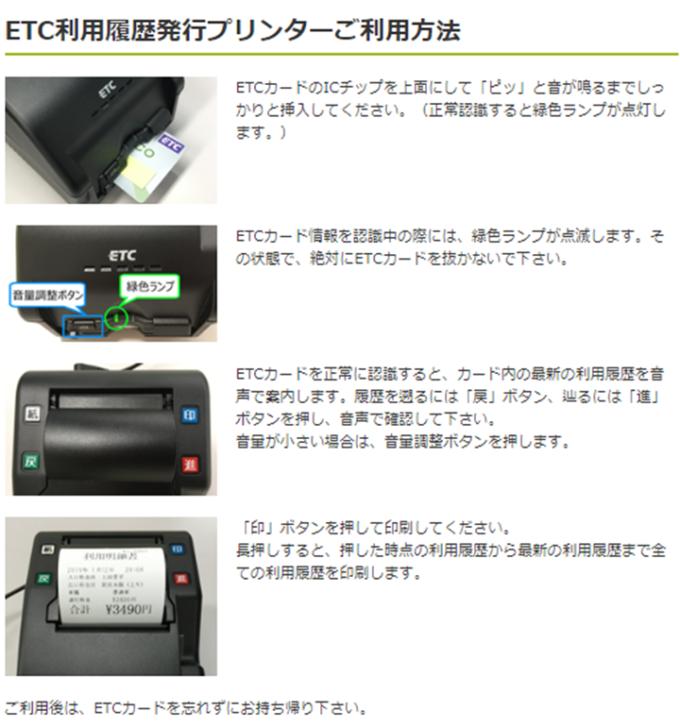 ETC利用履歴発行プリンターの利用方法