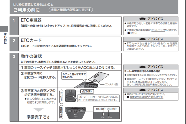 1.ETC車載器にETCカードを挿入する