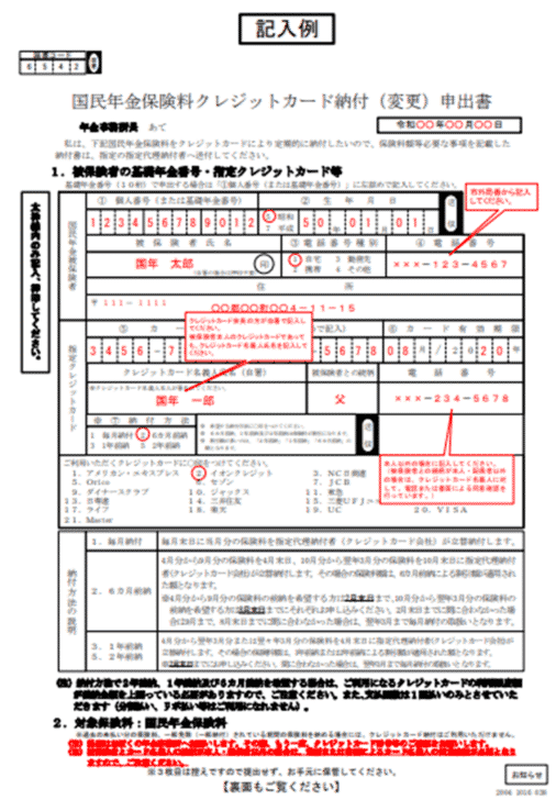 1.国民年金保険料クレジットカード納付(変更)申出書を作成・提出する