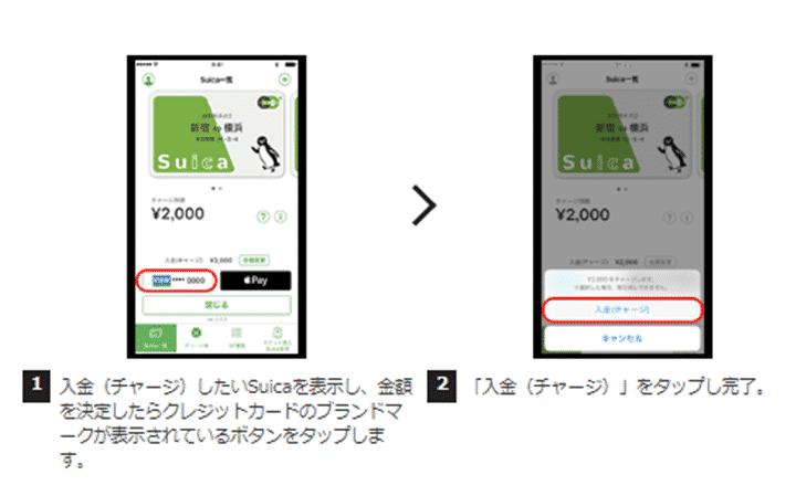 1.Suicaアプリケーションに登録したクレジットカードでチャージする