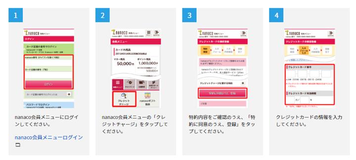 2.nanacoにクレジットカード情報を登録する
